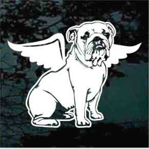 Bulldog Angel Wings Sitting Window Decal