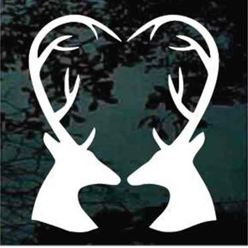 Deer Antlers Heart Window Decals