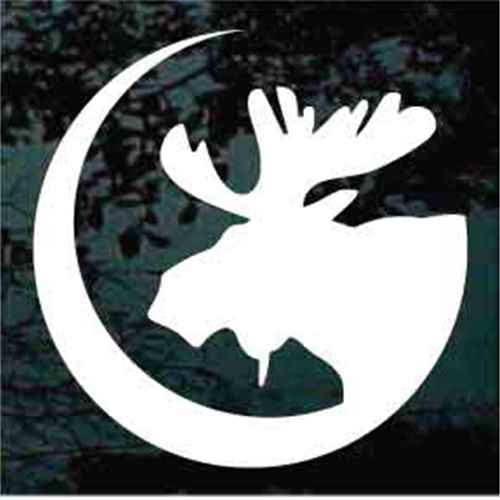 Moose Head On Crescent Moon
