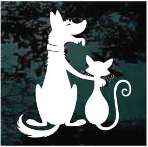 Dog & Cat Friendship Window Decals