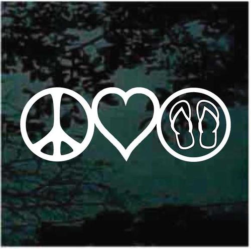 Peace Love Flip Flops Decals