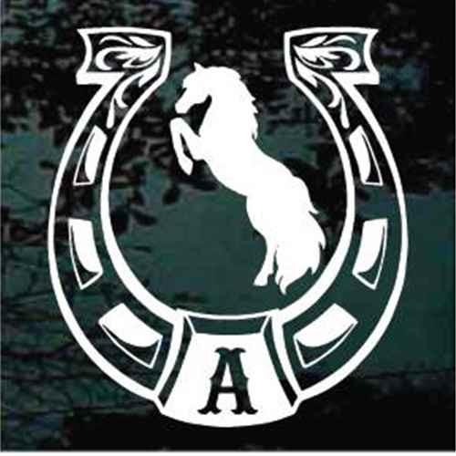 Monogrammed Horseshoe Rearing Horse