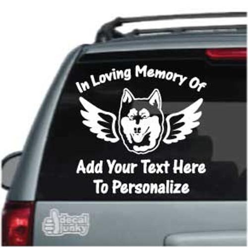 Siberian Husky Angel Wings Memorial Car Decals