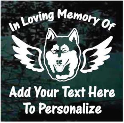 Siberian Husky Angel Wings Memorial Window Decals