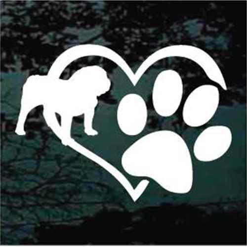 English Bulldog Heart Paw Window Decal