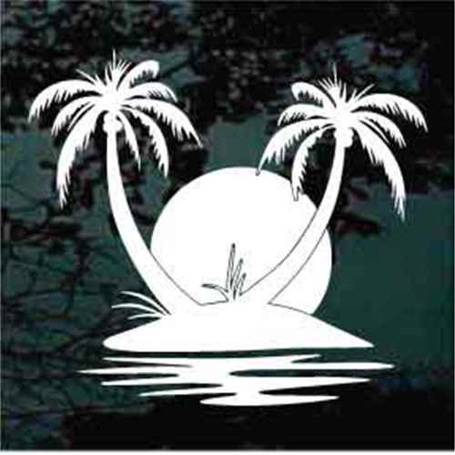 Palm Trees Island Sunset