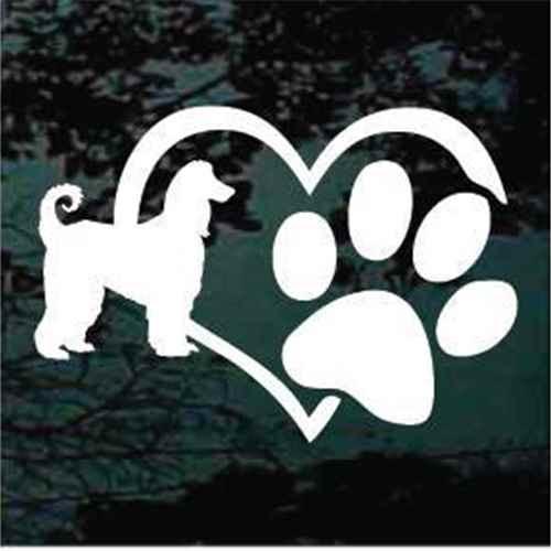 Afghan Hound Dog Heart Paw Decal