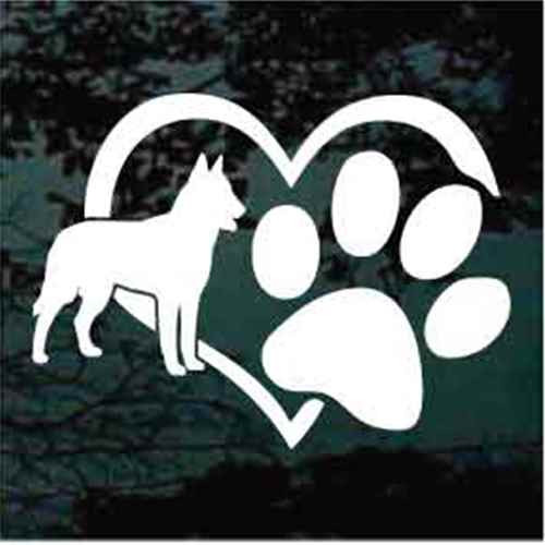 Belgian Malinois Heart Paw Window Decal