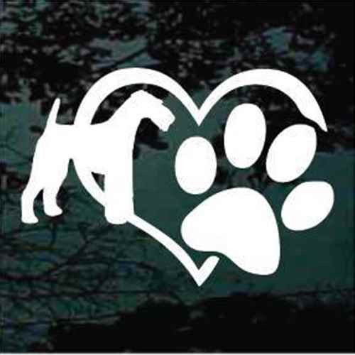 Airedale Terrier Heart Paw Window Decal