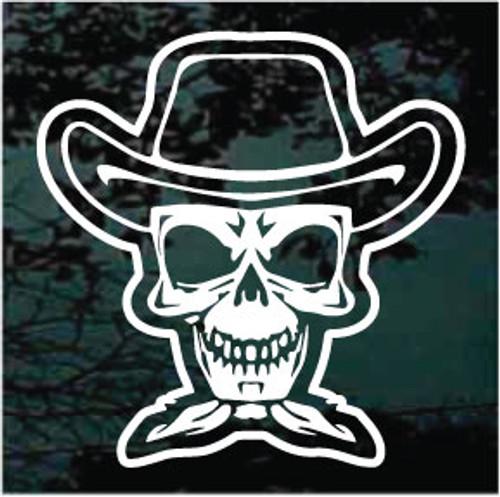 Cowboy Skull Wearing Bandana Window Decals