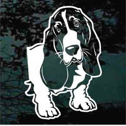 Basset Hound Head Side View Window Decals