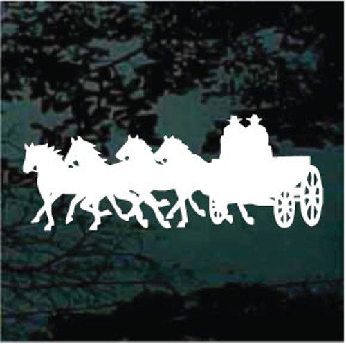 Four Horses Pulling Wagon Decals