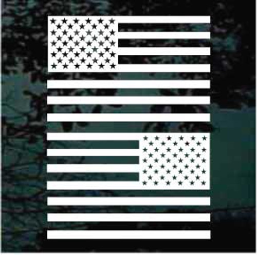 American Flag Flat Single Color Set of Two Window Decals