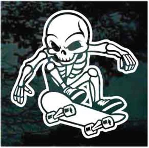Skeleton Skateboarder Window Decal
