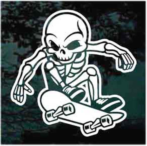 Skeleton Skateboarder Window Decal