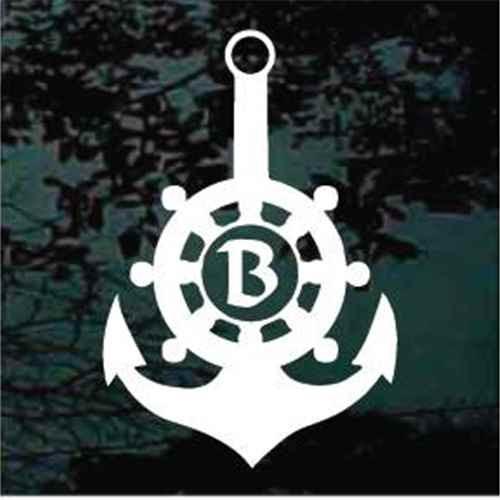 Captain's Wheel Boat Anchor Monogram
