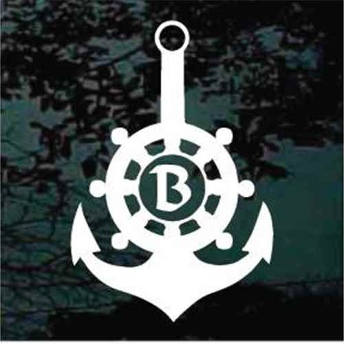 Captain's Wheel Boat Anchor Monogram