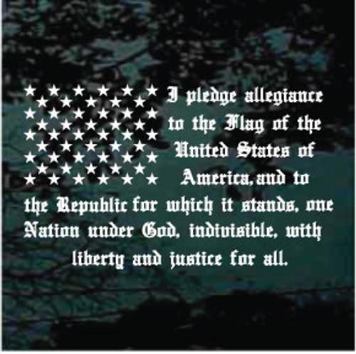Pledge Of Allegiance Flag Window Decals