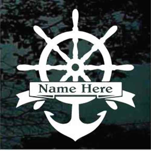 Captain's Wheel Boat Anchor Boat Name Banner