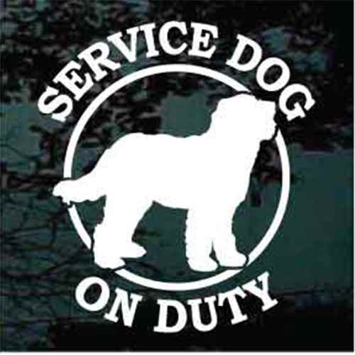 Service Dog On Duty Goldendoodle Window Decal