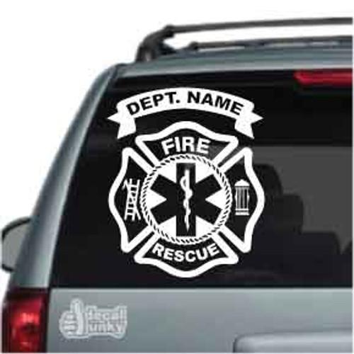 Fire Rescue Fire Department Car Decal