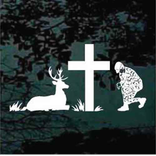 Deer Hunter Praying At The Cross
