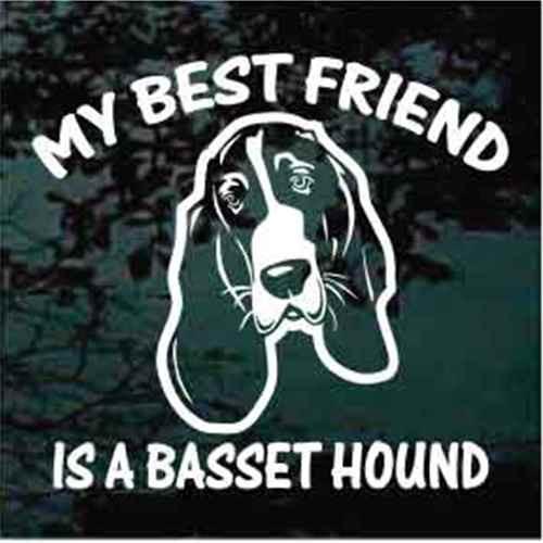Best Friend Basset Hound Head Decals