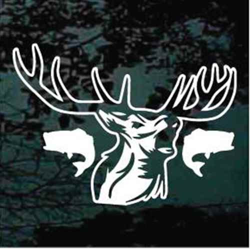 Bull Elk Head With Bass Fish Car Window Decal