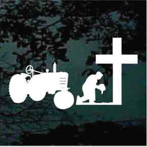 Farmer with Tractor Praying At The Cross Decals