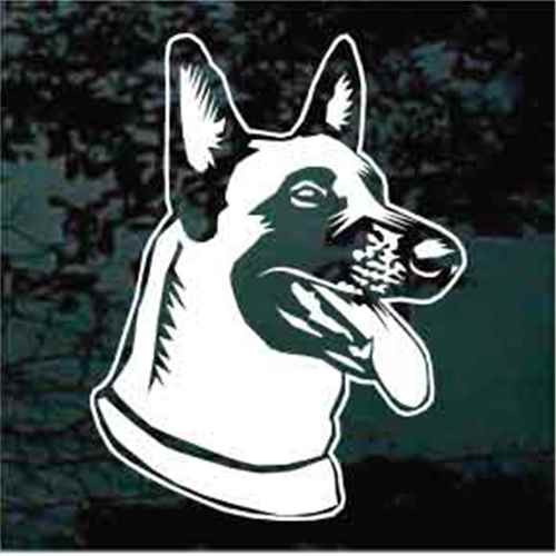 Friendly Belgian Malinois Head Window Decal