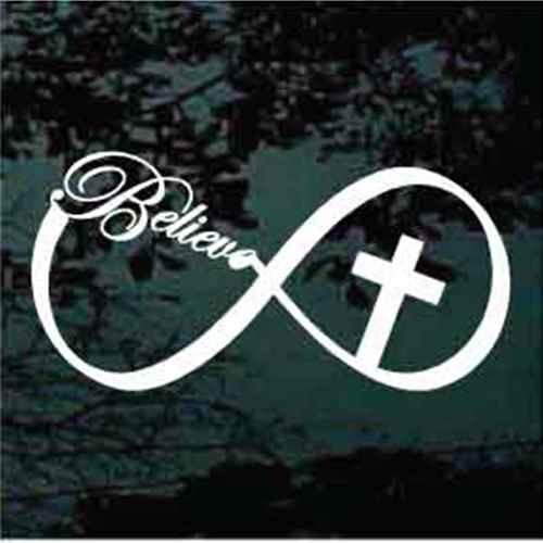 Believe Infinity Cross Christian Decals