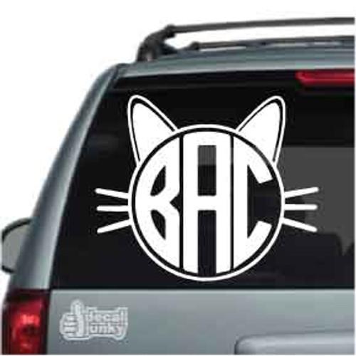 Cat Monogram Car Decal