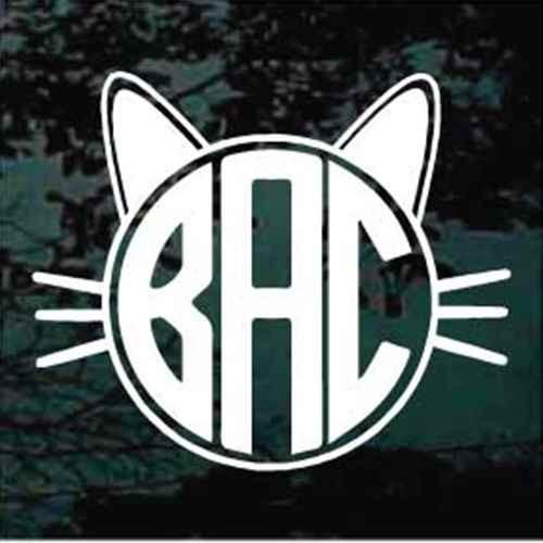 Cat Monogram Window Decal