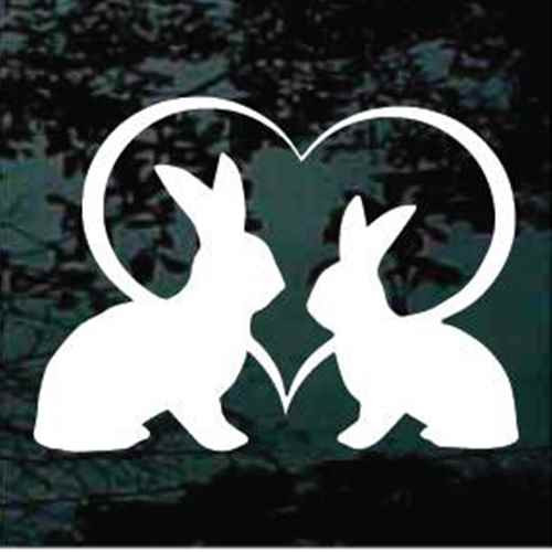 Rabbits Heart Window Decals