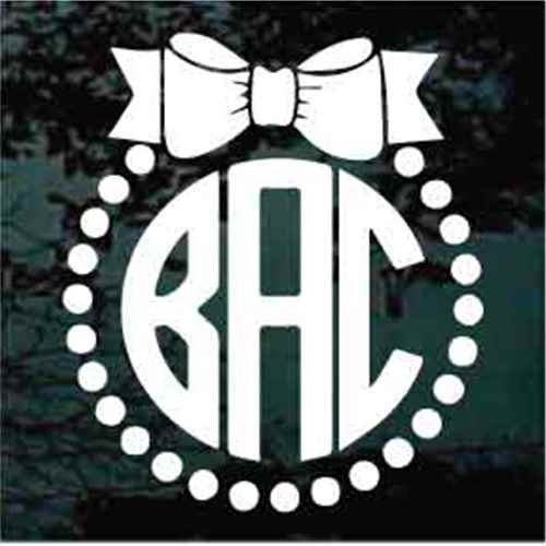 Small Dots Bow Monogram Decals