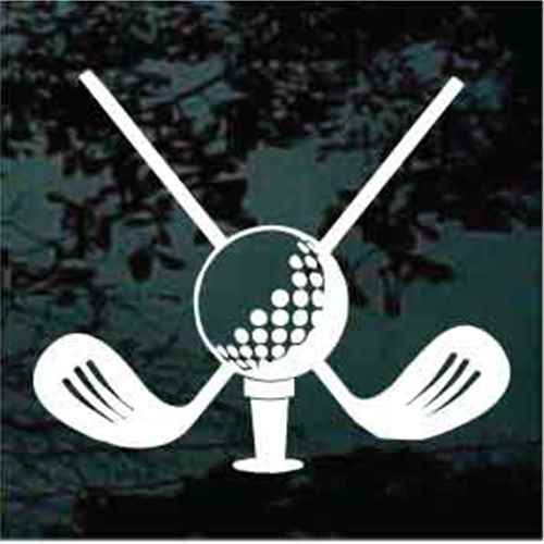 Golf Ball With Crossed Clubs Decals