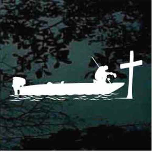 Bass Fisherman Praying At The Cross Decals