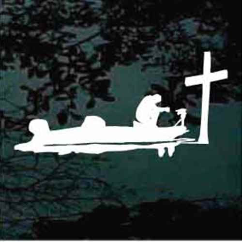 Bass Fisherman Kneeling At The Cross Decals