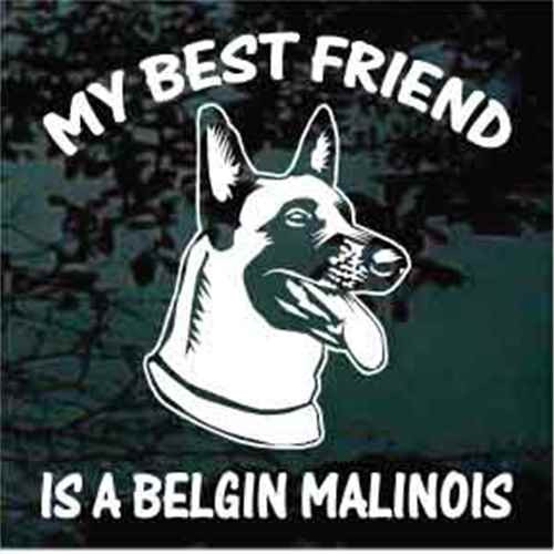 Best Friend Happy Belgian Malinois Head Window Decal