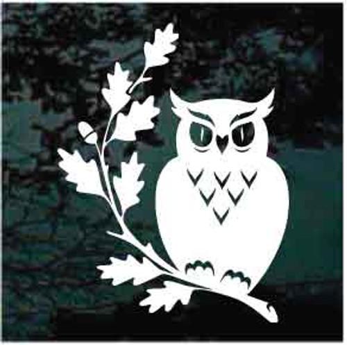 Owl On An Oak Branch Window Decals