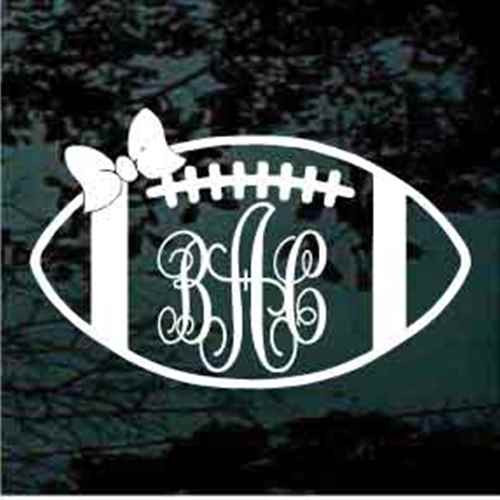 Football Bow Script Monogram Decals