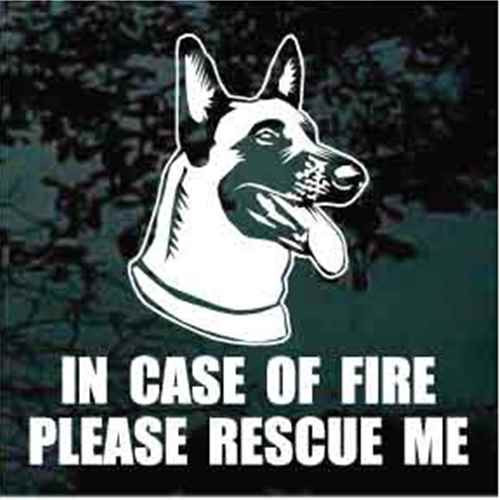 Fire Rescue Happy Belgian Malinois Head Window Decal