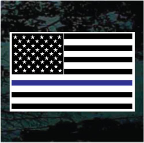 Thin Blue Line American Flag Window Decal