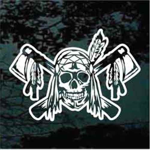 Indian Skull With Crossed Tomahawks Decal