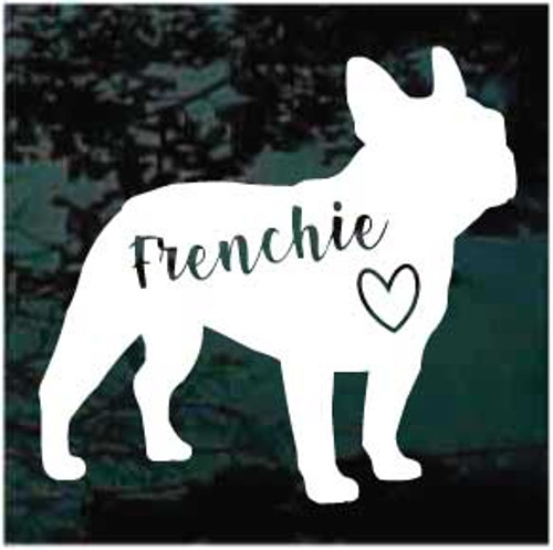Frenchie Heart Window Decal