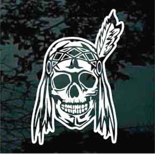 Indian Skull With Feather Decal