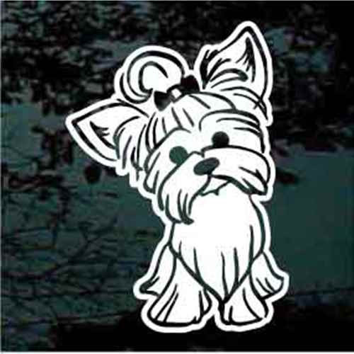 Yorkshire Terrier With Bow Decals