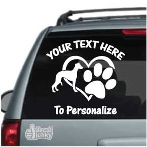 Whippet Heart Paw Car Decals