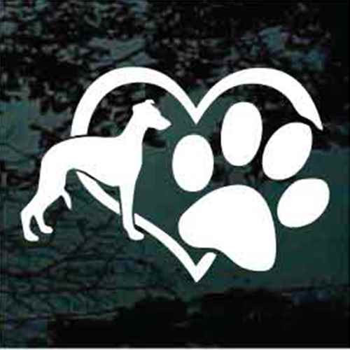 Whippet Heart Paw Window Decal