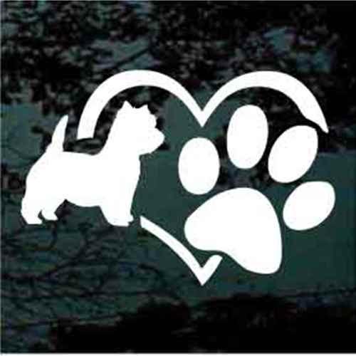 West Highland Terrier Heart Paw Window Decals